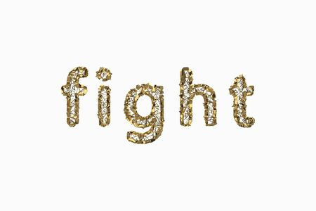 The word Fight is made by gold wired jewelry letters isolated on white background. 3D illustration image Stok Fotoğraf - 133782839