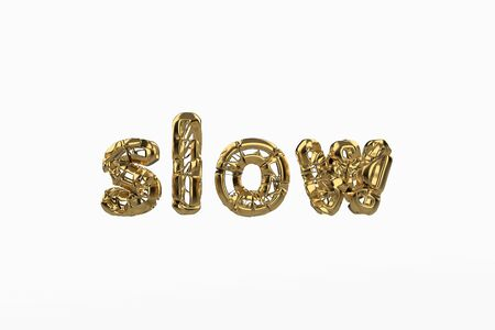 The word Slow is made by gold wired jewelry letters isolated on white background. 3D illustration image
