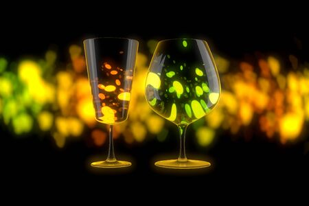 Close up on pair of empty wine Glasses over bright and colorful Lights Bokeh Background. 3d illustration Imagens
