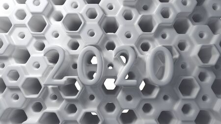 Happy New Year Banner with 2020 Numbers lettering made by whight plastic on hexagonal honeycomb modern grid structure with black balls. abstract 3d illustration