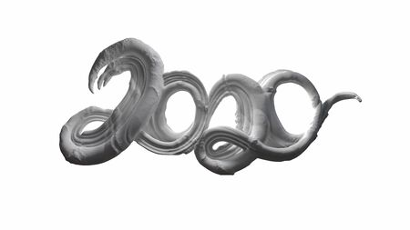 Happy New Year Banner with 2020 Numbers made by sugar white caramel isolated on white Background. abstract 3d illustration creative lettering Zdjęcie Seryjne