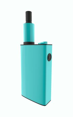 Popular blue vaping device. Safely Vaper gadget 3d illustration isolated on white background
