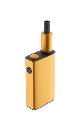 Popular golden vaping device. Safely Vaper gadget 3d illustration isolated on white background