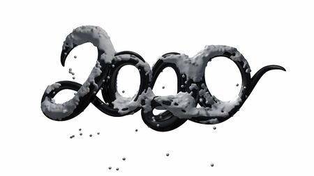 Happy New Year Banner with 2020 Numbers made by black glossy plastic with snow isolated on white Background. abstract 3d illustration creative lettering Zdjęcie Seryjne