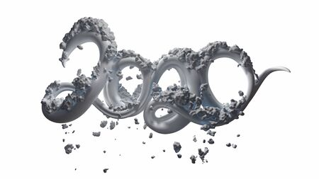 Happy New Year Banner with 2020 Numbers made by white glossy icecream with snow isolated on white Background. abstract 3d illustration creative lettering