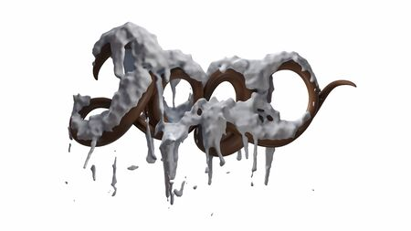 Happy New Year Banner with 2020 Numbers made by glossy chocolate with snow isolated on white Background. abstract 3d illustration creative lettering