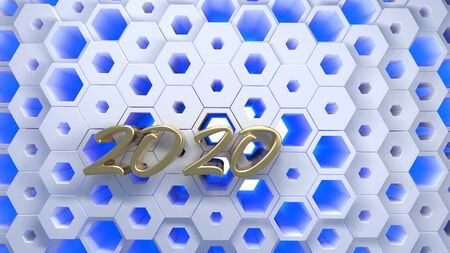 Happy New Year Banner with 2020 Numbers lettering made by Gold on hexagonal honeycomb modern grid structure. abstract 3d illustration
