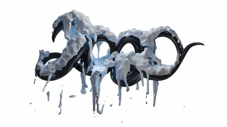 Happy New Year Banner with 2020 Numbers made by glossy black plastic or caramel with snow isolated on white Background. abstract 3d illustration creative lettering