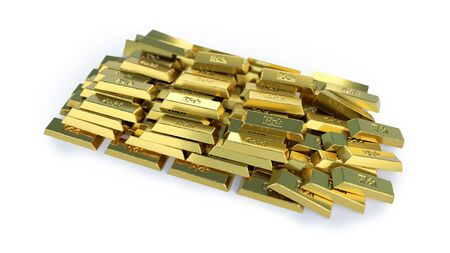 Stacked pile of gold bars. 3D rendered illustration isolated on white background. Selective focus macro shot with shallow DOF