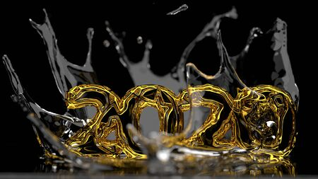Happy New Year 2020 lettering made by gold wire structure and water splash around it. Isolated on black background. 3d illustration. Selective focus macro shot with shallow DOF.