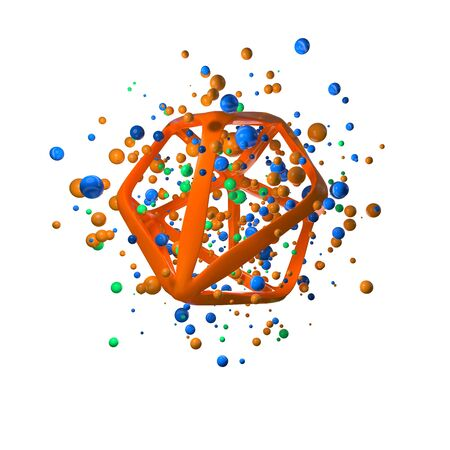 3d illustration of flying realistic primitives. Spherical shapes in motion isolated on white background oround polygonal wired molecular structure. Abstract theme for your trendy designs in blue, green and orange colors. conceptual composition Banco de Imagens