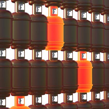 Propane gas cylinders isolated on white background . 3d illustration Reklamní fotografie