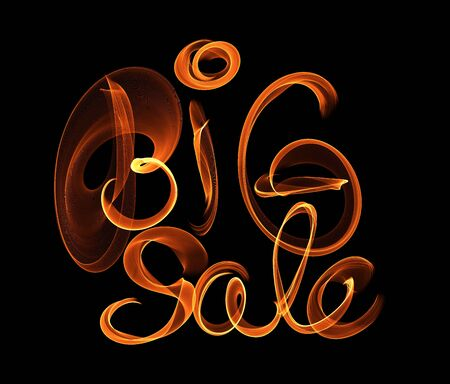Big Sale handmade lettering, calligraphy made by fire or smoke, for prints, posters, web Stok Fotoğraf
