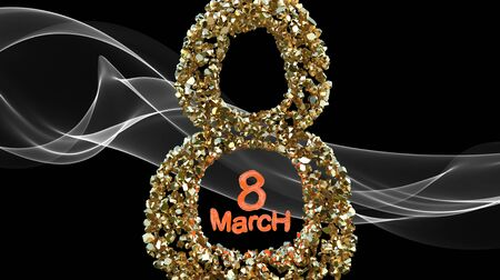 8 March symbol. Figure of eight made of golden gems flying in the space over white smoke. Can be used as a decorative greeting grungy or postcard for international Womans Day. 3d illustration