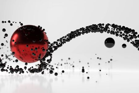 Abstract stream of black glossy spherical particles reflected from a large red metal sphere. Scifi 3d illustration with copyspace