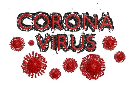 Coronavirus COVID-19 inscription made by blood with corona cells below. Epidemic condition 3d illustration isolated on white background