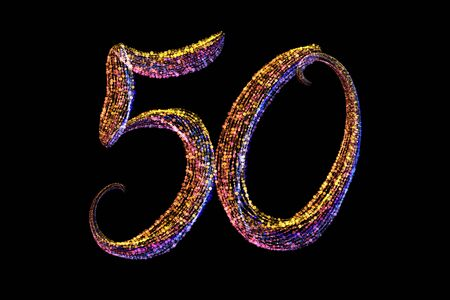 50 number lettering made by colorful particles isolated on black background