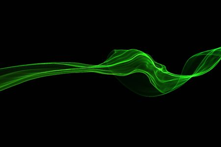 Abstract green swirl flame or Beautiful wavy smoke isolated over black background overlay. Fresh eco wavy illustration.