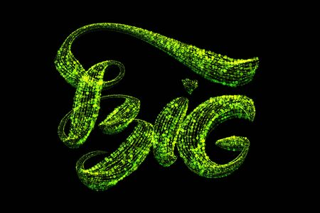 Large green lettering word inscription BIG made of bright green particles isolated on a black background
