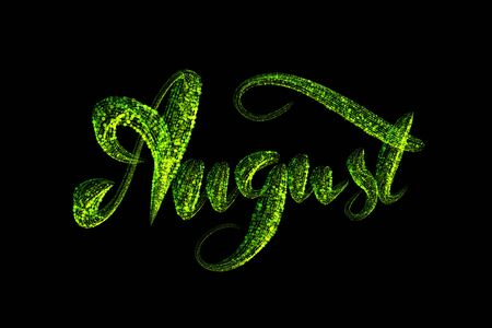 August lettering word written with green luminous particles isolated on black background. 스톡 콘텐츠