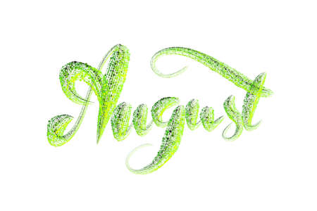 August lettering word written with green luminous particles isolated on white background. 免版税图像