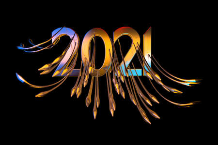 Happiness for the New Year 2021 lettering made by metal cast and lit by blue and orange light. The surface is covered with sharp spikes Isolated on black background 3d illustration Selective focus macro shot with shallow DOF. Banque d'images
