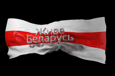 Inscription Long Live Belarus in Belarusian language over background of historical red-white flag of Belarus . Protests in August 2020. 3d illustration template for banner, card or poster