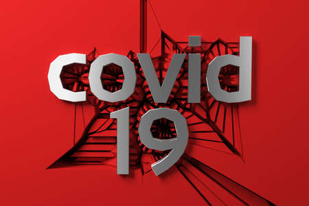 covid 19 metal steel lettering of three dimensional letters and numbers against a cracking red wall. 3d illustration Banque d'images