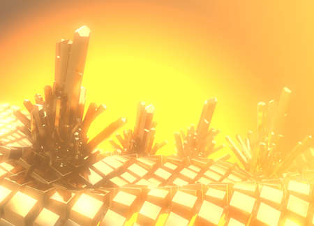 Field of Golden cubes in space with metal precious crystals with copyspace for your text. 3d illustration