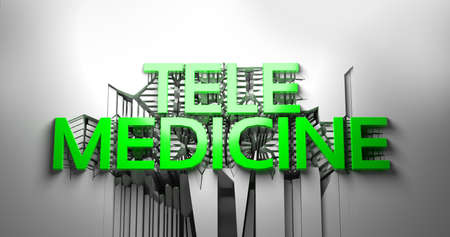 Green Telemedicine lettering against an abstract cracked white wall. 3d illustration Banque d'images