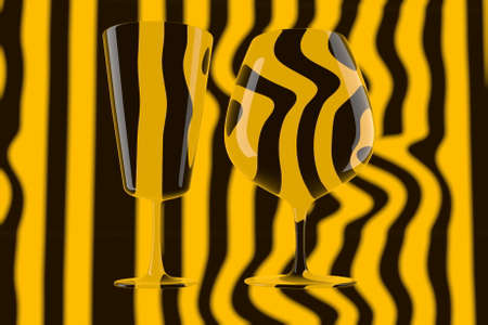 pair of empty wine glasses and wine on the stripped background. 3d illustration Banque d'images