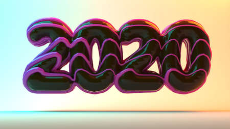 2020 lettering in the form of chocolate donuts poured on top of a pink caramel. New Year sign. 3d rendering isolated on white background