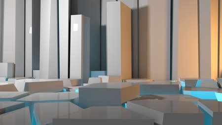 Abstract concrete interior or exterior with chaotic polygonal relief pattern on the wall and floor looks like an ice. 3d illustrationd