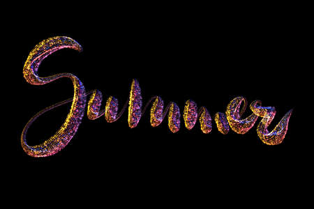 Summer lettering made by colorful rainbow circles confetti lettering over black background