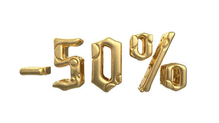 The sign -50off. Made of gold metal and white silver parts isolate on white background. Sale and advertising conceptual 3d illustration Banque d'images