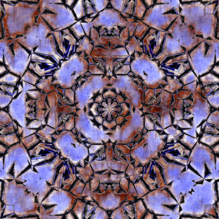 abstract background with rusty metal seamless kaleidoscope pattern, purple hue