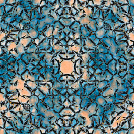abstract background with rusty metal seamless kaleidoscope pattern, blue hue. Digitally created 3d illustration Banque d'images