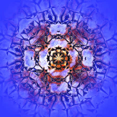 abstract background with rusty metal kaleidoscope pattern, purple hue. Digitally created 3d illustration