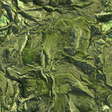 Aerial view from air plane of mountains seamless texture background. 3d illustration.