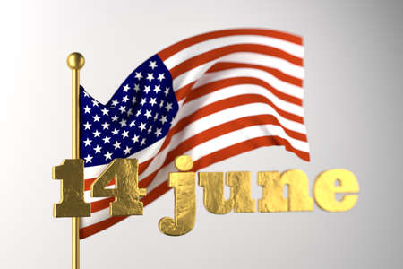 USA Flag Day . United States of America national . Stars and Stripes. 14 June American great Old Glory holiday. 3d illustration. Golden lettering on the background of a flying flag on white background
