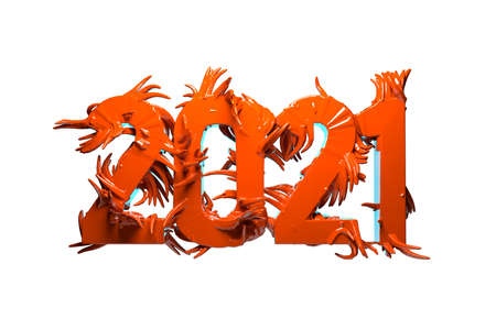 Happiness for the New Year 2021 lettering made by red glossy plastic or metal. The surface is covered with sharp spikes Isolated on white background 3d illustration