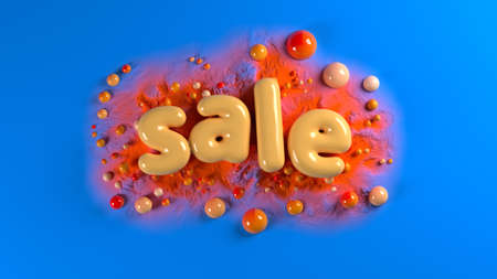 sale bright glossy letters on a blue abstract background with spheres and mountains. 3d illustration Banque d'images