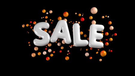sale bright white glossy letters isolated on black background with spheres around. 3d illustration