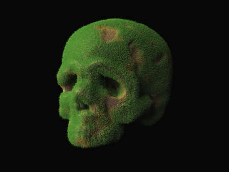 an old abandoned skull overgrown with grass with patches of brown earth. Abstract 3d illustration about y sliding time Banque d'images