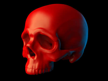 Abstract sculpted red skull without lower jaw isolated on black background. 3d illustration