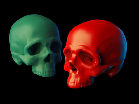 Abstract 2 sculpted red plastic and green wax skulls without lower jaws isolated on black background. 3d illustration Banque d'images