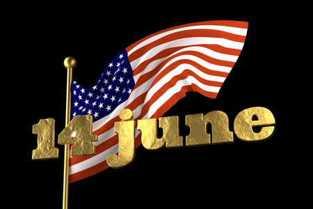 USA Flag Day . United States of America national . Stars and Stripes. 14 June American great Old Glory holiday. 3d illustration. Golden lettering on the background of a flying flag
