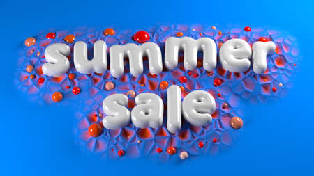 Summer Sale bright white glossy letters on a blue abstract background. 3d illustration Banque d'images
