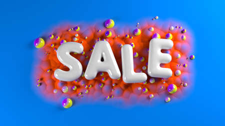 sale bright glossy letters on a blue abstract background with colorful spheres and mountains. 3d illustration Banque d'images