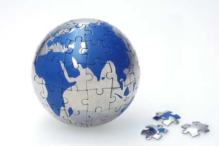 Globe collected from puzzle parts photo